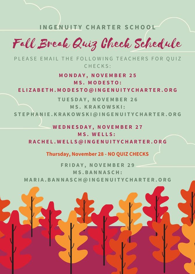 Fall Break Reminder