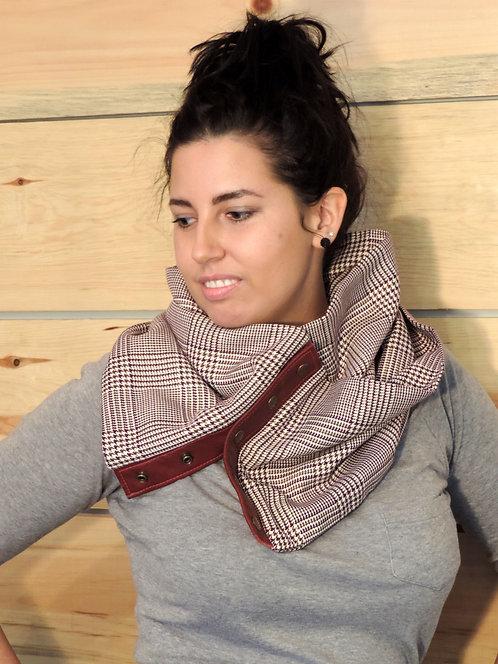 Foulard infini lainage léger & cuir recyclé #13