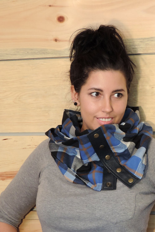 Foulard infini lainage léger & cuir recyclé #21