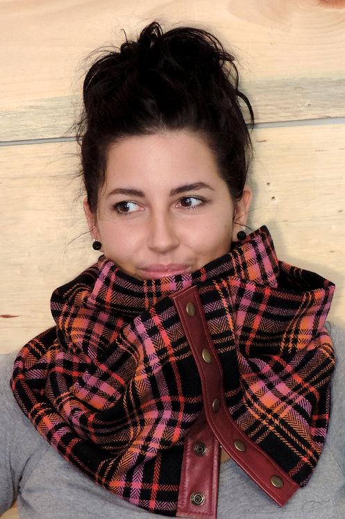 Foulard infini lainage & cuir recyclé #7