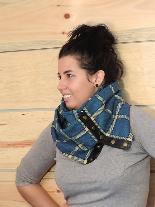 Foulard infini lainage & cuir recyclé #10