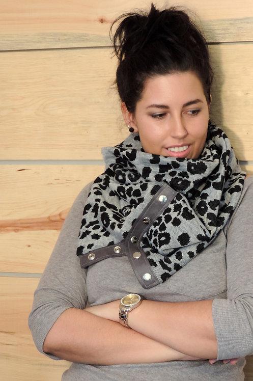 Foulard infini lainage & cuir recyclé #3