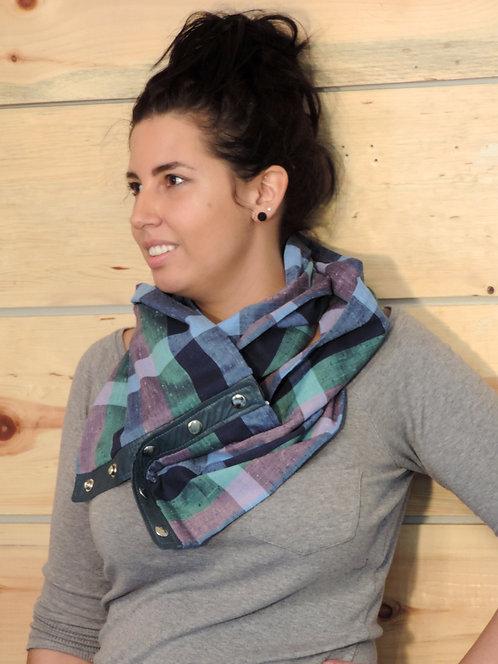 Foulard infini en coton & cuir recyclé #24