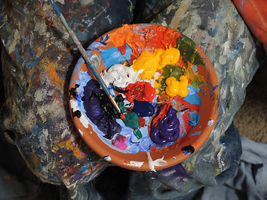 Paint palatte filled with different colours