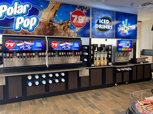 Mix up your own special soda with our large assortment of drinks and slushes.