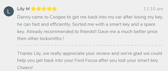 Review from Coogee resident for KS Locksmiths auto service