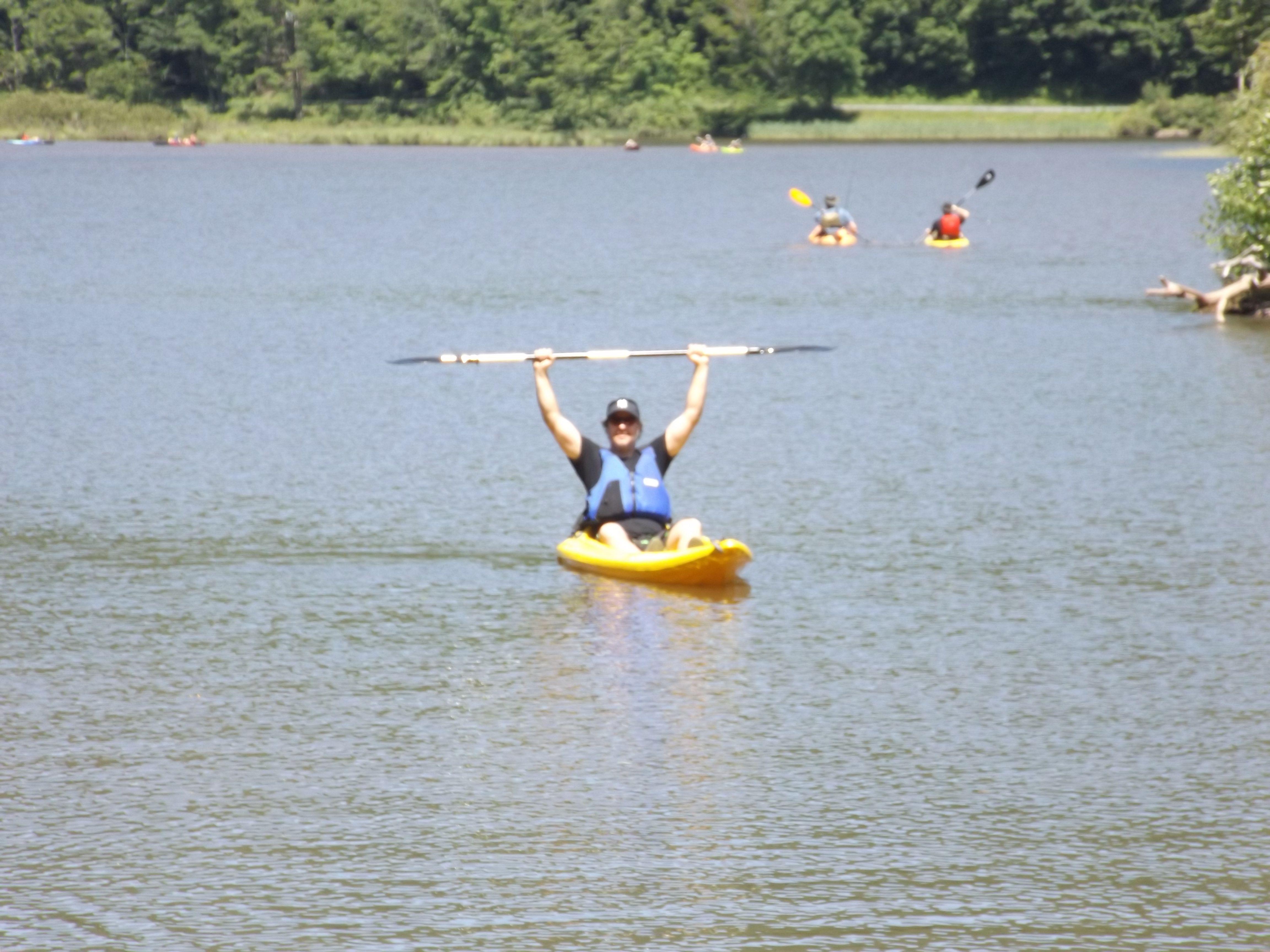 Happy kayaker