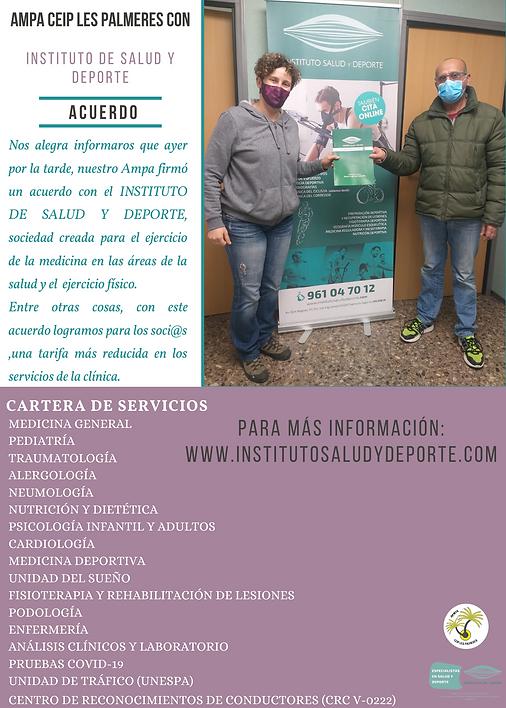 CARTEL ACUERDO INSTITUTO SALUD Y DEPORTE