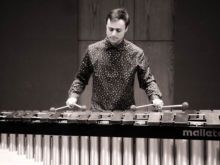 Derek playing marimba, Ithaca, NY
