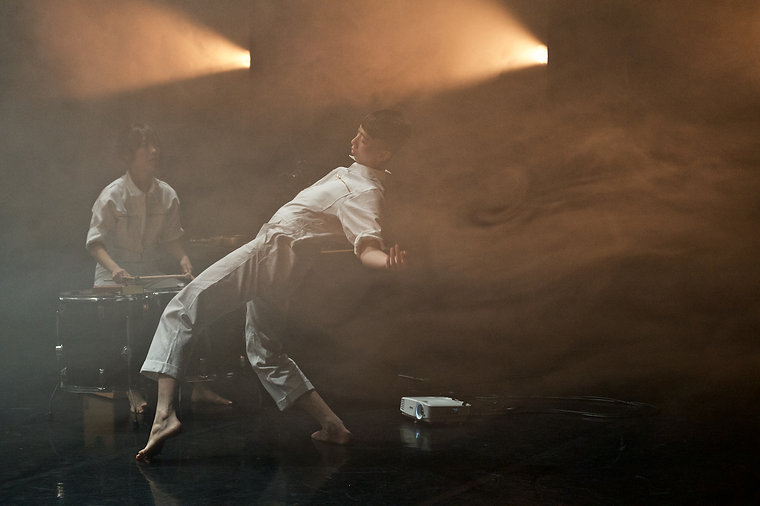 Ghost Chan and Angela Hui Wai Nok in Skirmishes by Ghost and John, photo by Dominic Farlam