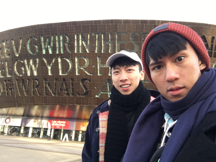 Outside Welsh National Opera, Cardiff