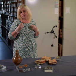 Senior archaeologist Heather Knight reveals some of the objects found at The Theatre