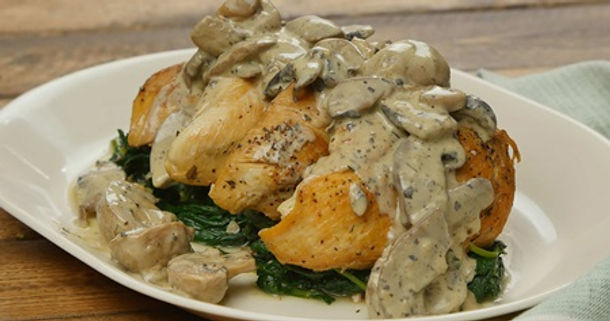 Chicken with Creamy Mushroom Sauce and Sautéed Greens with Pecans