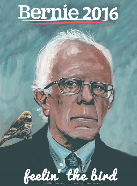 Feeling the Bird, Bernie Sanders promotional art, 2016.