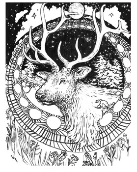 Elk Medicine (linework), 2016.