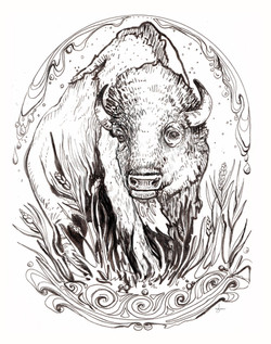 Buffalo Medicine- Water is Life, Standing Rock support print, 2016.