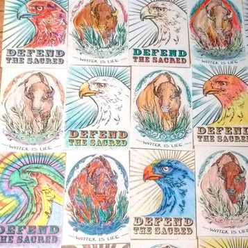 Standing Rock post card series, colored and addressed to political figureheads, 2016.