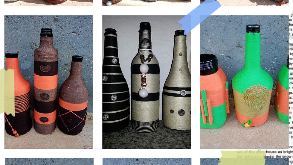 Woven recycles bottles 3 piece set