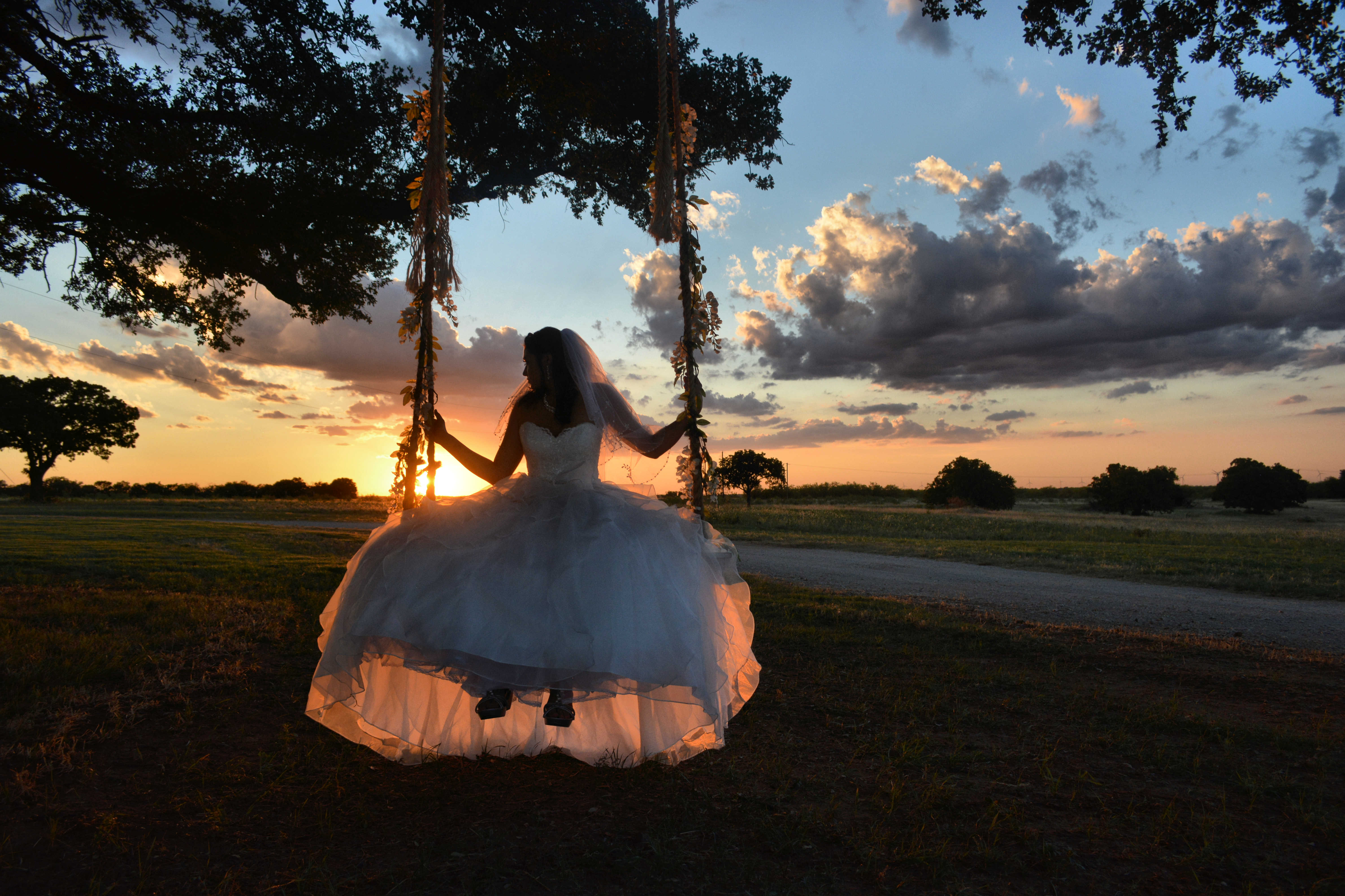 Bridal portrait with a swing