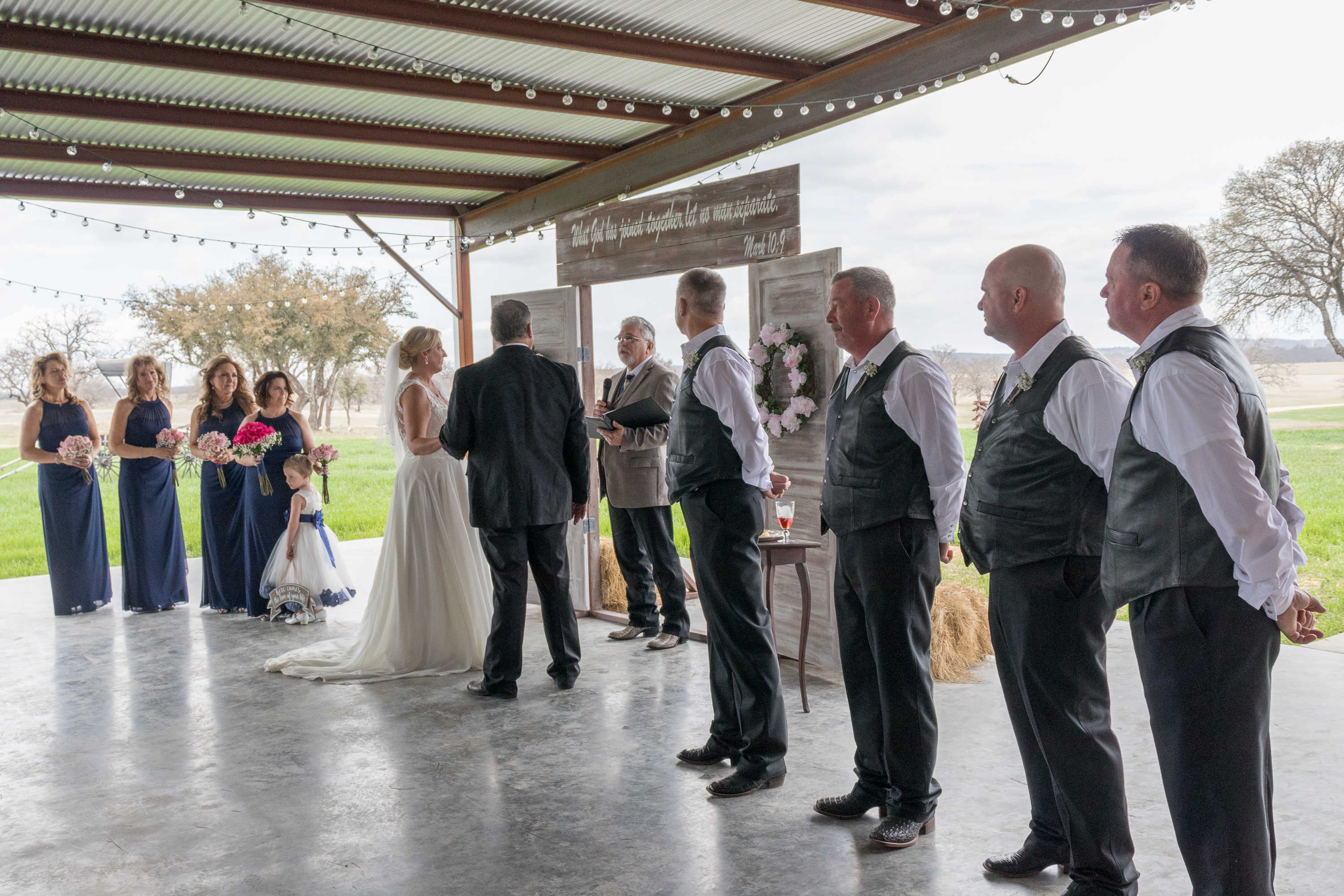 Patio ceremony with a view