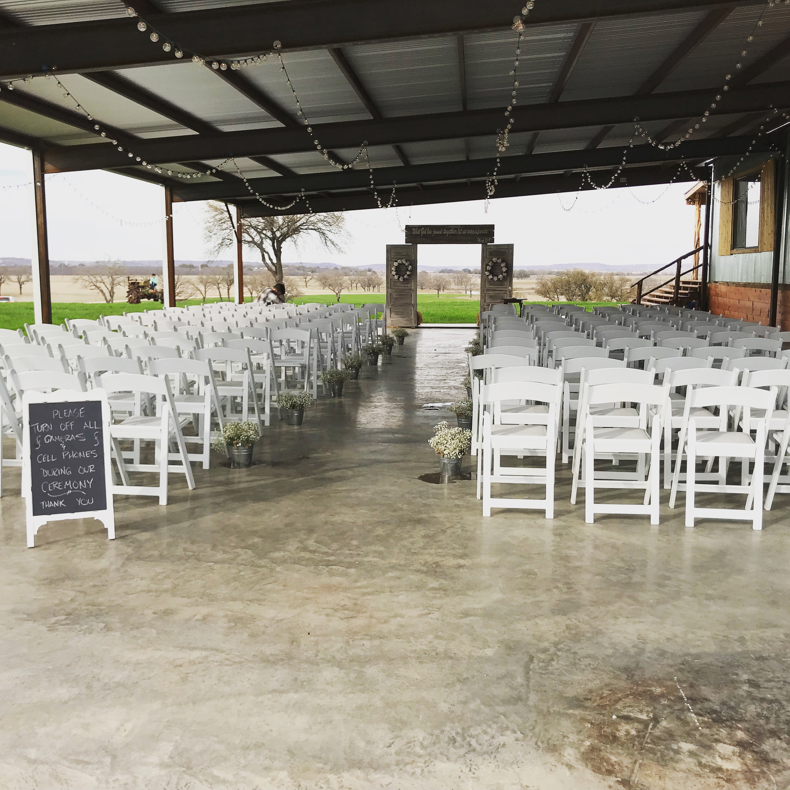 Outdor patio wedding setup