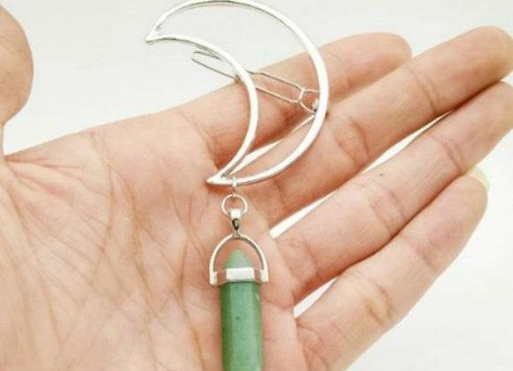 Moon clip with Jade gemstone