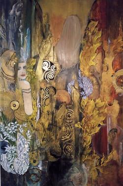 Flora,  200 x 150 cm, Gemälde auf Holz gearbeitet