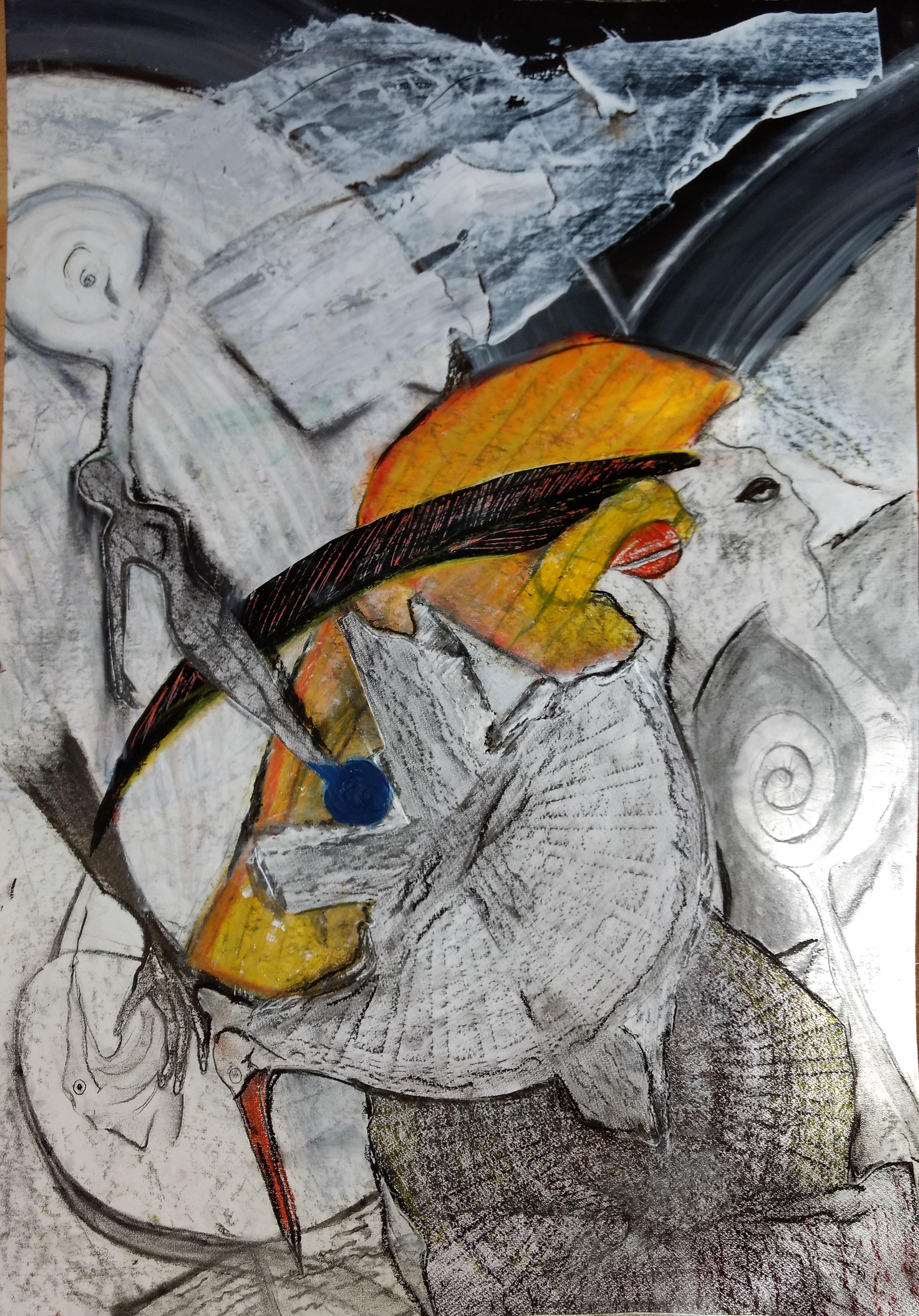 Kohlezeichnung/Collage/Frottage