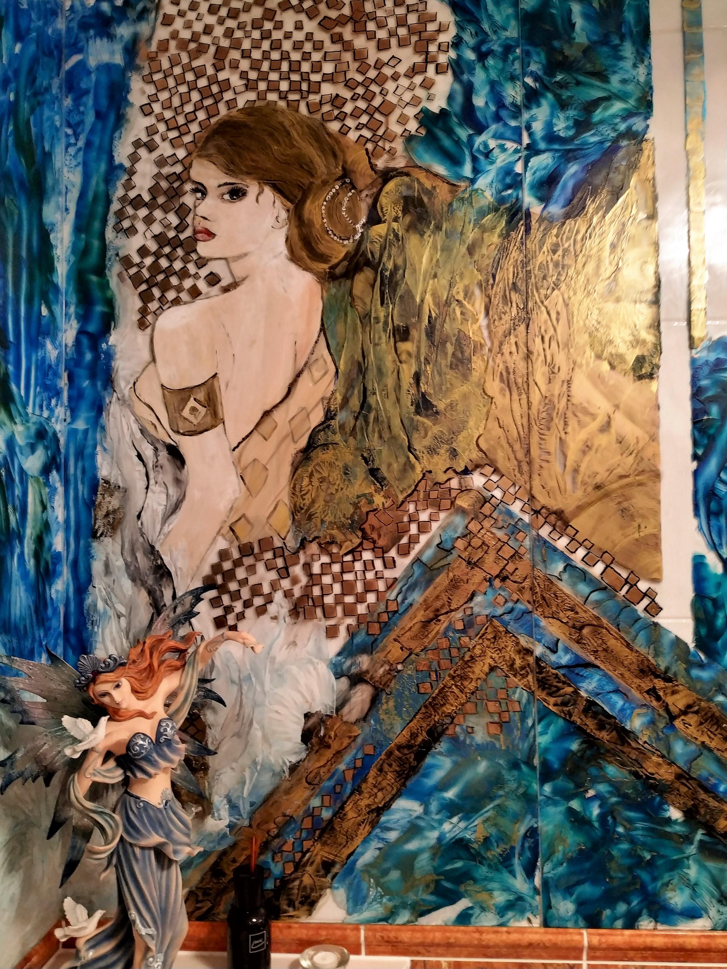 Glasmalerei für ein Badezimmer
