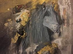 Pferdekopf mit Blattgold