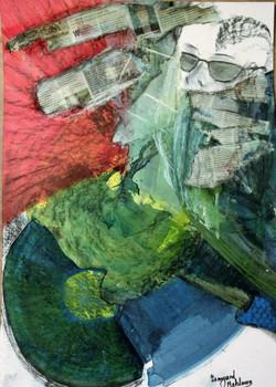 der streber 70 x 50 cm kohlezeichnung mischtechnik collage
