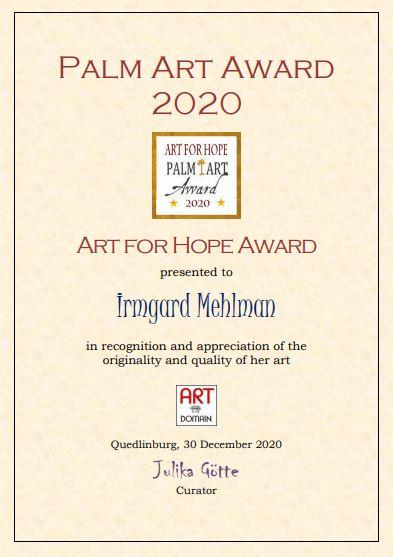 Ausgezeichnet mit dem ART FOR HOPE AWARD