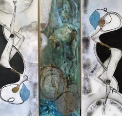 Antike trifft Abstrakte 120 x 120 cm