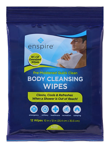 "Enspire Pre-Moistened 10"" X 12"" Body Cleansing Wipes 12 Pack"