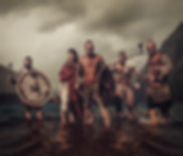 Armed, mad vikings warriors, standing on the seashore with Drakkar on the background..jpg