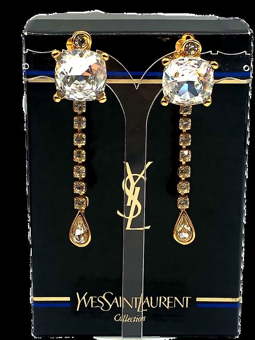 Yves Saint Laurent Preloved Crystal Earrings.