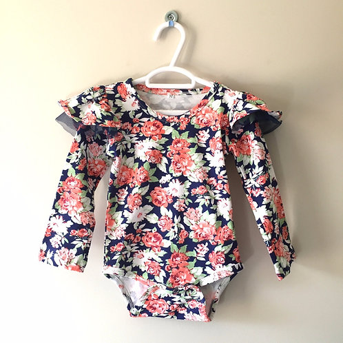 Ruffle Sleeve Romper - Floral