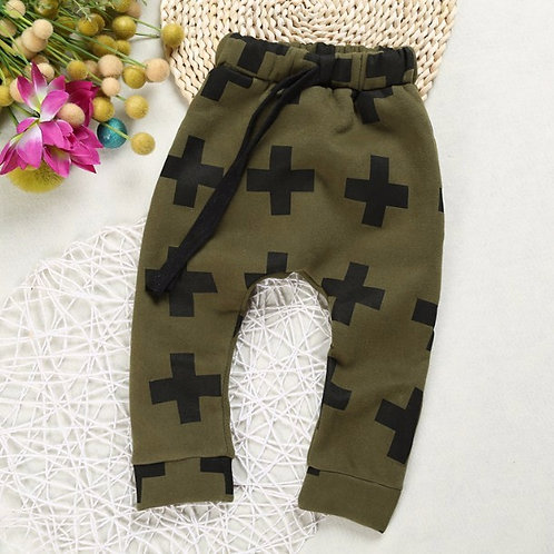 Cross Print Tracksuit Pants -Army Green