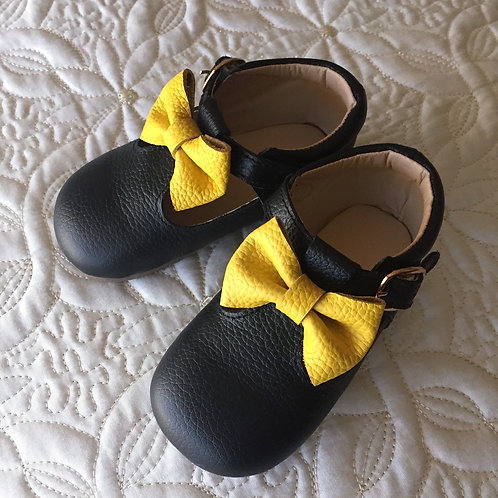 Leather Yellow Bow Shoes