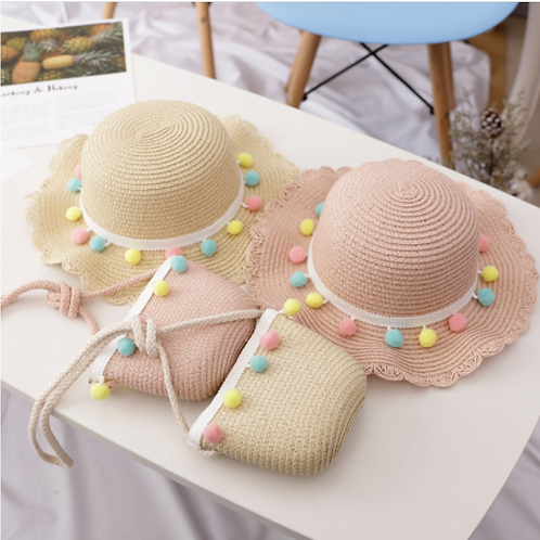Straw Hat and Bag Set