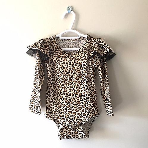 Ruffle Sleeve Romper - Leopard