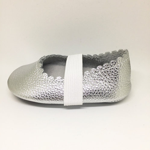 Leather Ballet Shoes - Silver