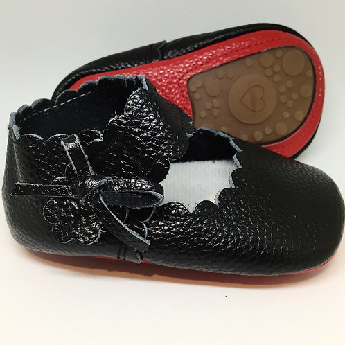 Leather Bow Shoes - Black with Red Sole