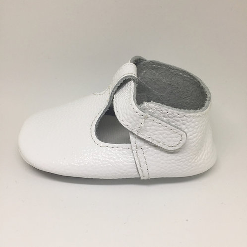 Leather T-Bar Shoes - White