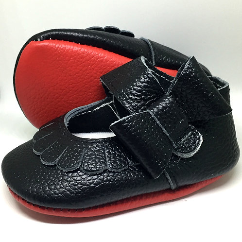Black Leather Shoes - With Red Sole