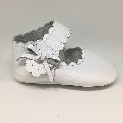Leather Bow Shoes - White