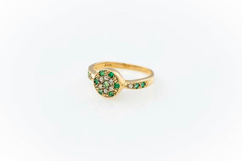 Diamond Disc Ring - Diamond and Emerald Gold ring -  Rose cut ring - Emerald Rin