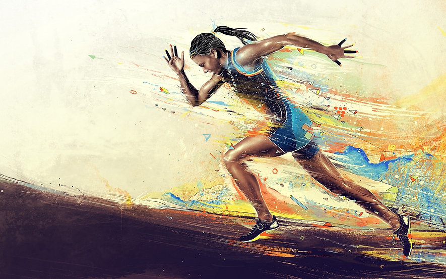 girl_athlete_running_paint_smeared_62133