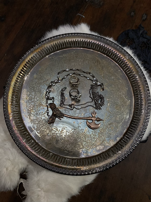 Etched silver tray