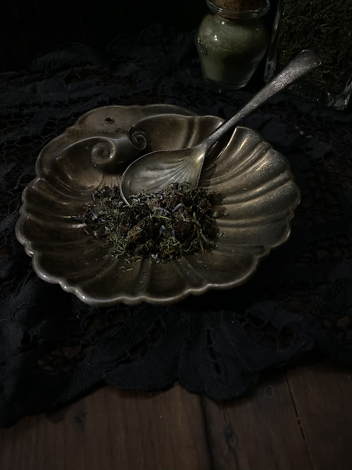 Silver shell altar dish with spoon